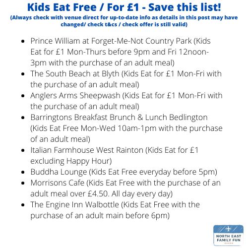 North East Restaurants Where Kids Eat Free