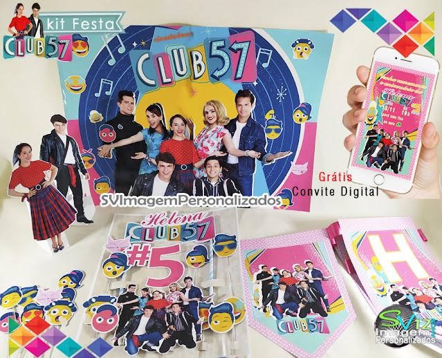 kit festa em casa Club 57 festa anos 60 dicas e ideias para decoração de festa personalizados