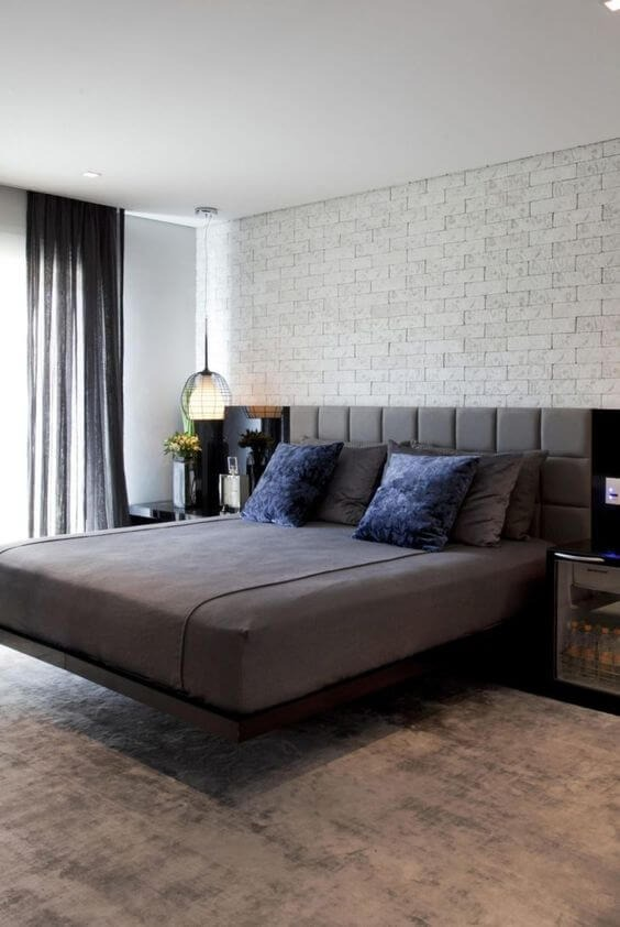 Gray floating bed