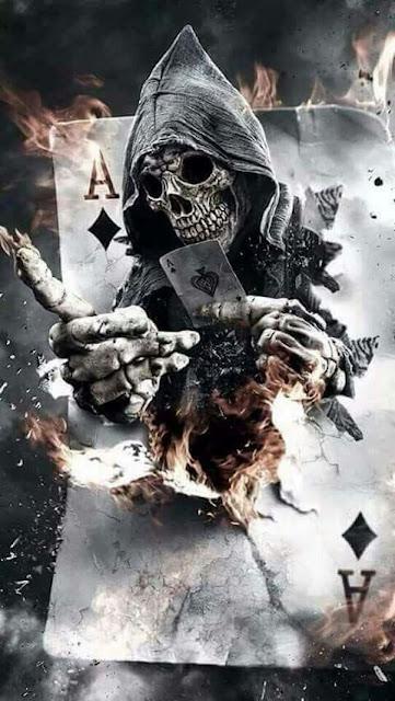 scheletro, carte da gioco, sfondo per smartphone