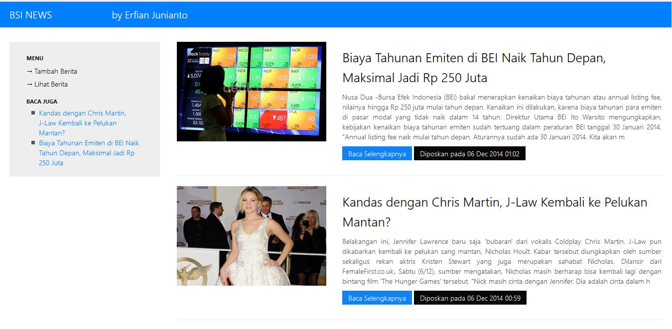 Gambar tampilan portal berita sederhana