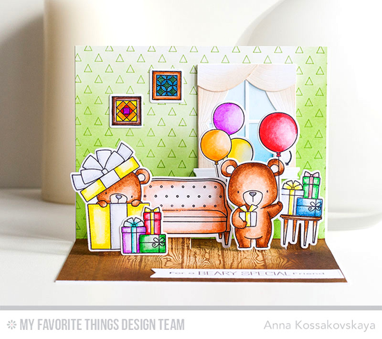 Handmade card from Anna Kossakovskaya featuring Birdie Brown Beary Special Birthday and Lisa Johnson Designs Make Yourself at Home stamp sets and Die-namics, Transparent Triangle Background stamp, and Classic Windows Die-namics #mftstamps