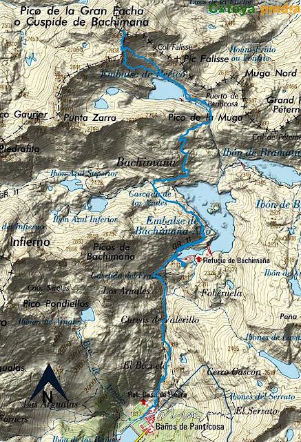 Map IGN de la ruta señalizada desde el Refugio de los Ibones de Bachimaña hasta el Pico la Gran Facha.