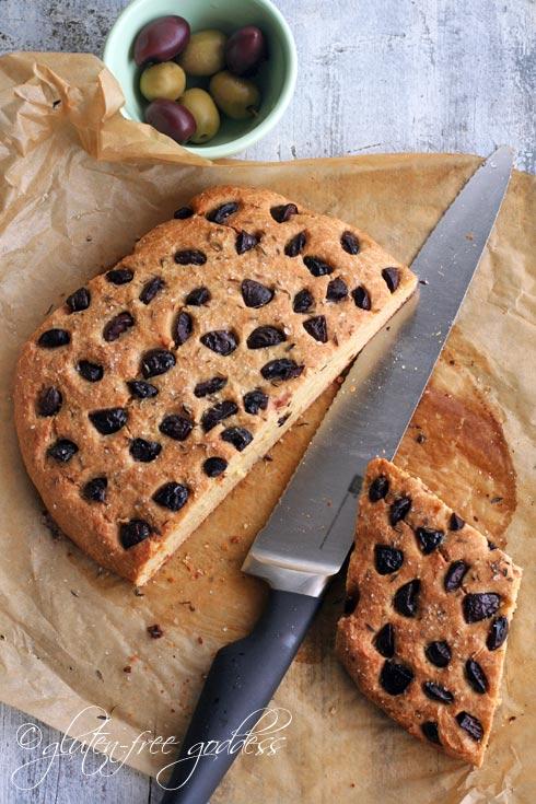 Gluten-Free Whole Grain Olive Bread