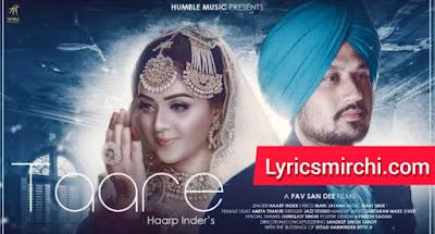 Taare तारे Song Lyrics | Haarp Inder | Latest Punjabi Song 2020