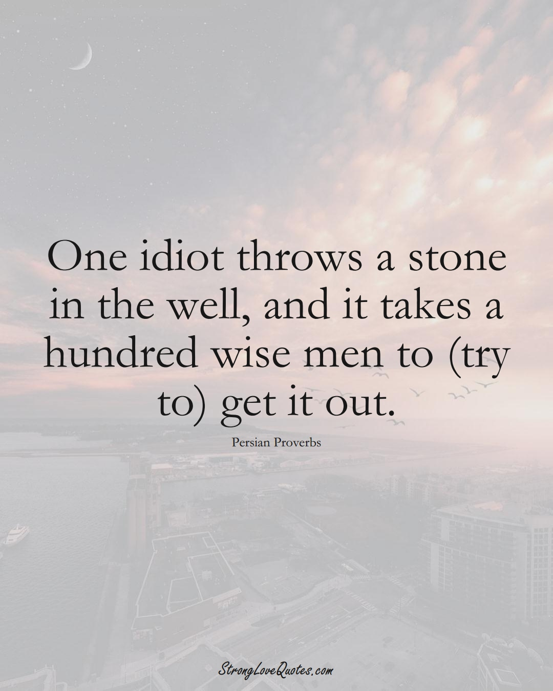 One idiot throws a stone in the well, and it takes a hundred wise men to (try to) get it out. (Persian Sayings);  #aVarietyofCulturesSayings