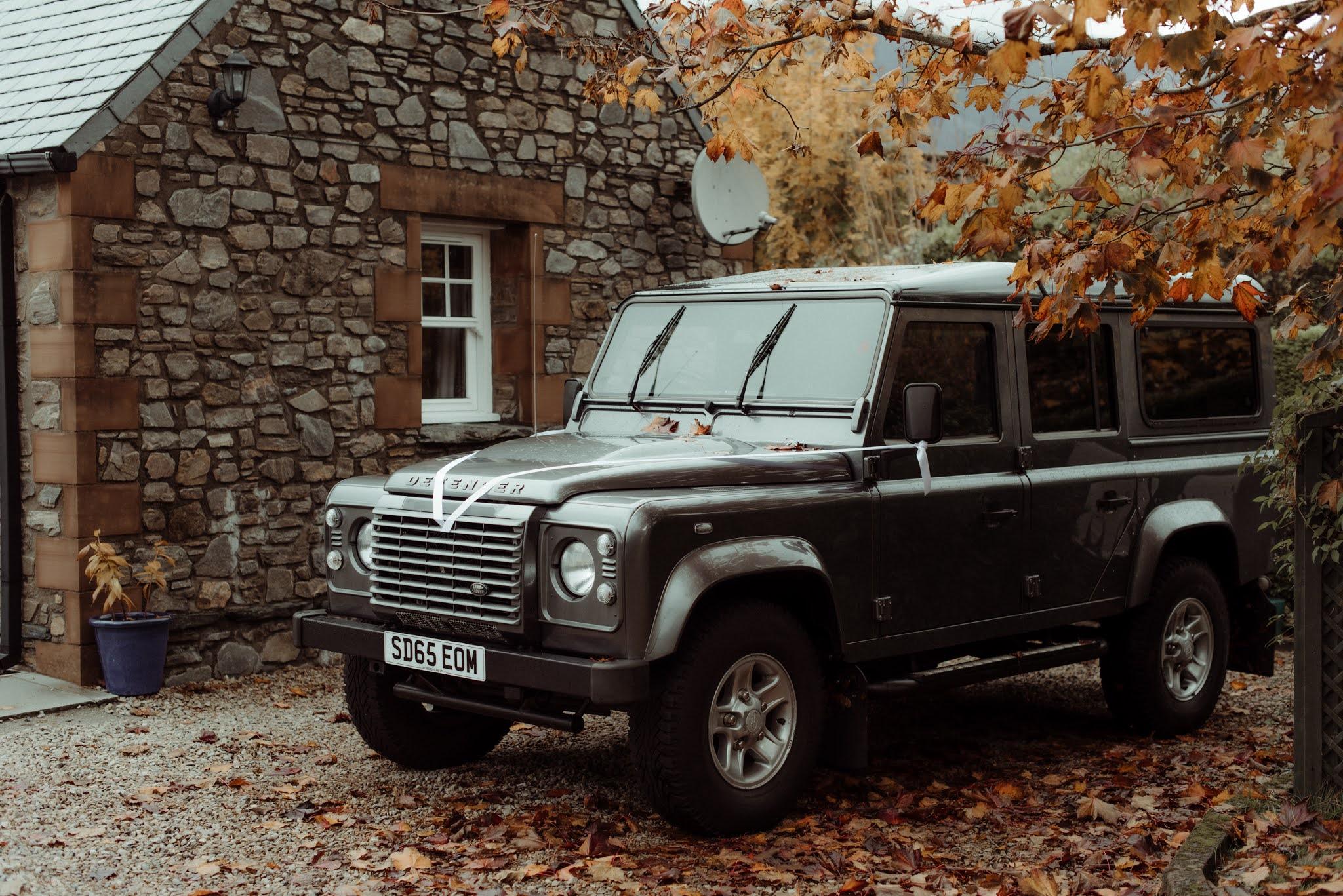 an alternative wedding car landrover defender