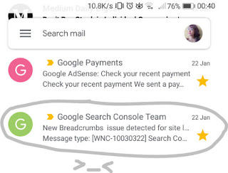 Breadcrumbs Issue Warning From Google