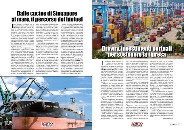AGOSTO 2021 PAG. 26 - Dalle cucine di Singapore al mare, il percorso del biofuel