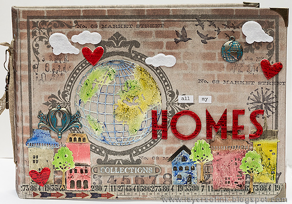 Layers of ink - Home Sweet Home Mini Book by Anna-Karin with Tim Holtz Chronicle Worn Cover