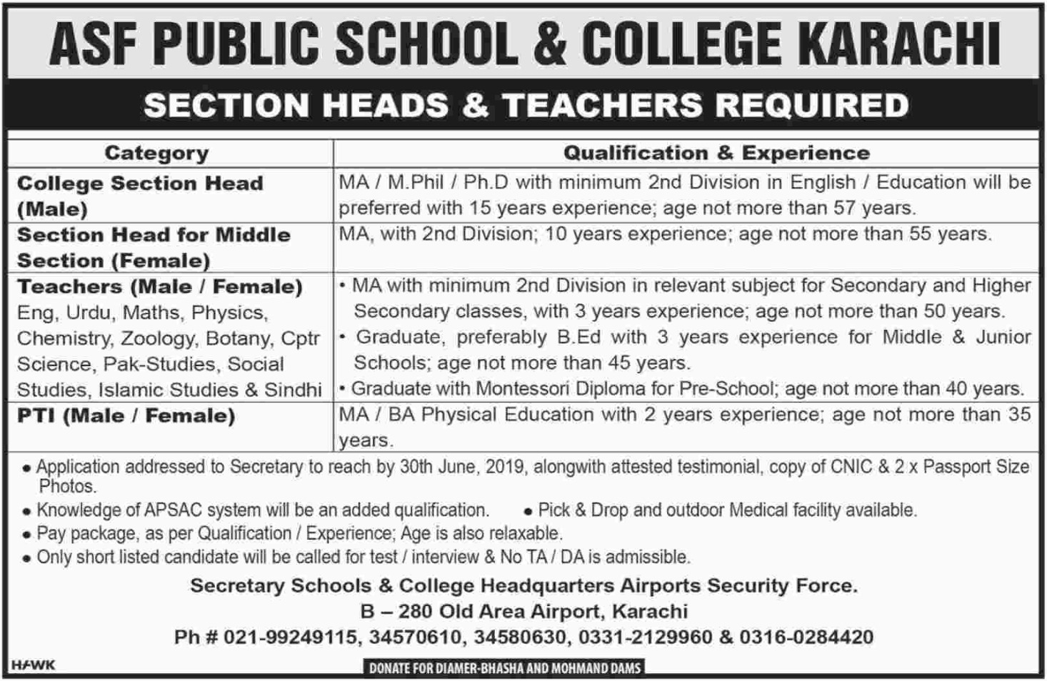 ASF Public School & College Karachi Jobs June 2019 - Sindh Jobs