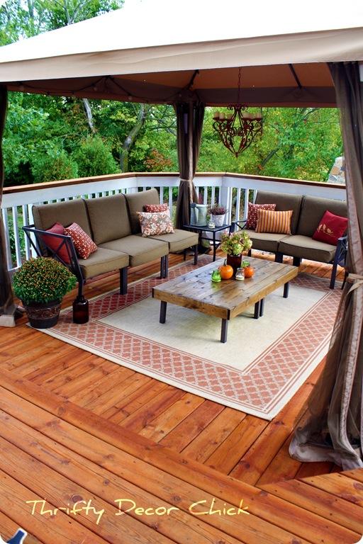 fabric gazebo on deck