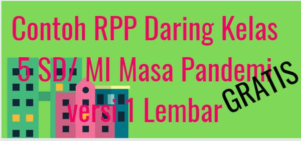 Contoh RPP Daring Kelas 5 SD/ MI Masa Pandemi versi 1 Lembar