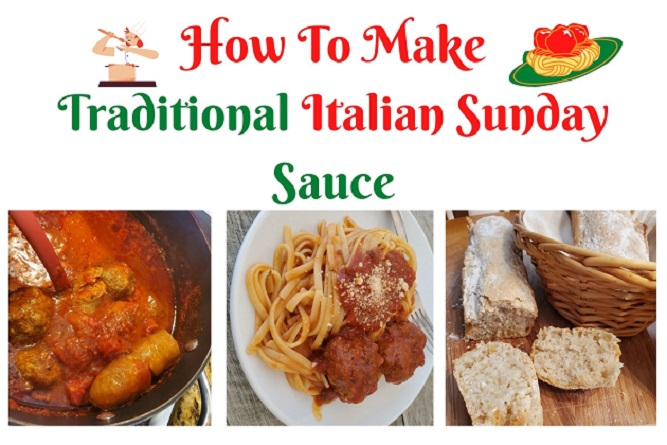 this is a collage of Italian tomato sauce, pasta and bread in a meal teaching how to make real authentic tomato sauce