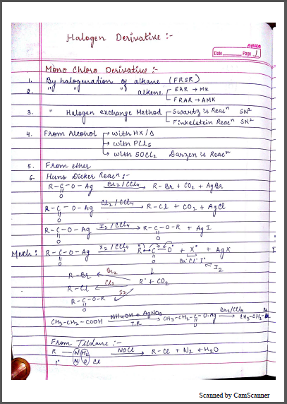 Chemistry Chapterwise Notes (Halogen Derivatives) : For JEE and NEET Exam PDF Book
