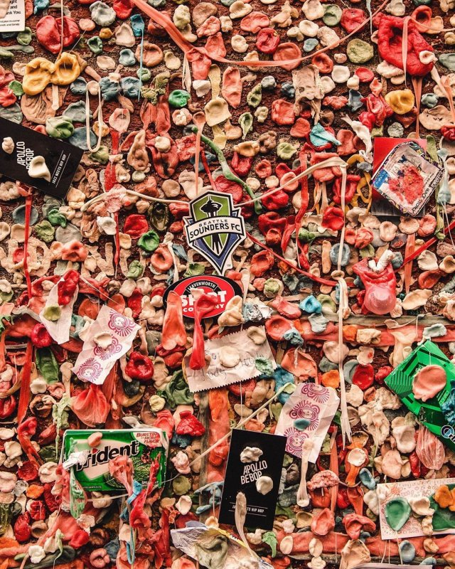 Washington (Seattle) - Wall of Gum Where You Can Leave Used Specimen