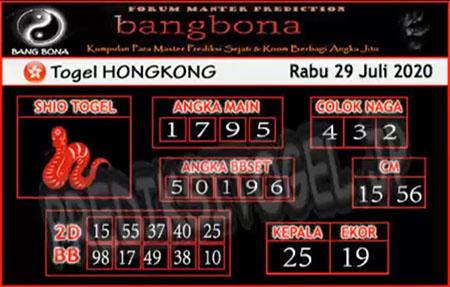 Prediksi Bangbona HK Rabu 29 Juli 2020