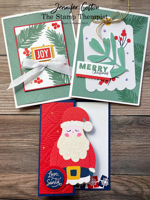 Stampin' Up!'s Love, Santa Tag Kit used to make three cards!  Add some ribbon, ink, and embossing folders!  #StampinUp #StampTherapist #LoveSanta