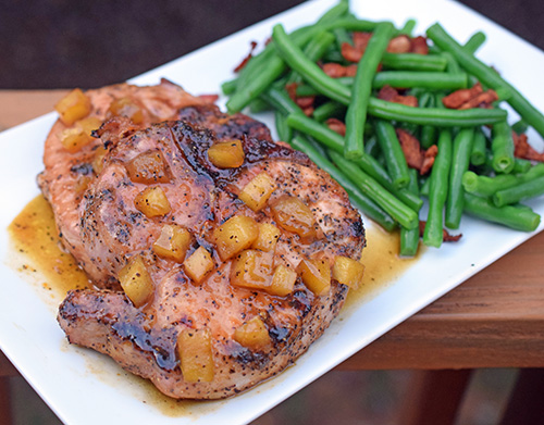 recipe for Thick Grilled Pork Chops with Apple and Apricot Sauce