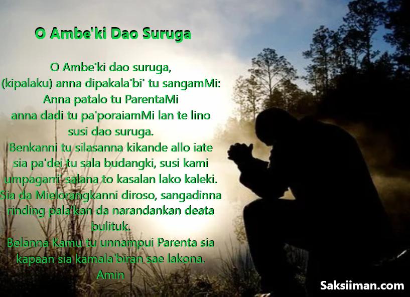 Gambar Doa Bapa Kami Bahasa Toraja (O Ambe'ki Dao Suruga)