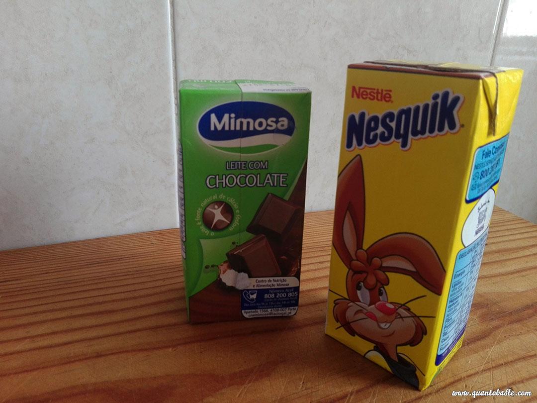 """Leite com """"chocolate"""" - Mimosa ou Nesquik?"""