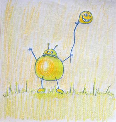 Pencil drawin robot holding a balloon