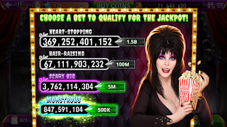 Bettien screen of Elvira Busting Out at Hit It Rich Slots