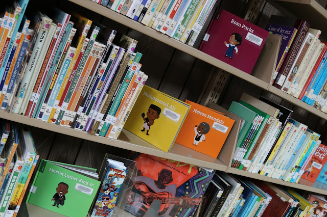 Shelves of children's books. Some are turned face out so you can see the titles.
