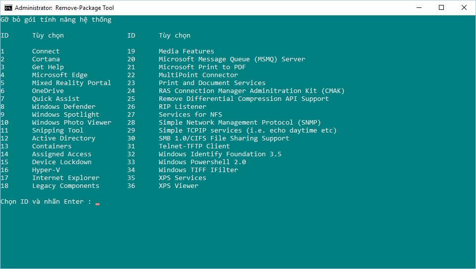 Hướng dẫn tạo Batch script gỡ bỏ gói package mặc định của Windows 10, Version 1703