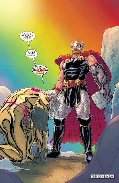 Odin bows and calls Thor as All-Father Thor in War of the Realms Issue #6.