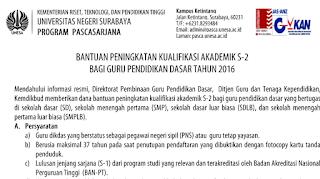 Beasiswa S2 Guru SD Dan SMP Dari Kemdikbud Tahun 2016