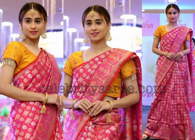 Simrath Juneja Pink Benaras Saree