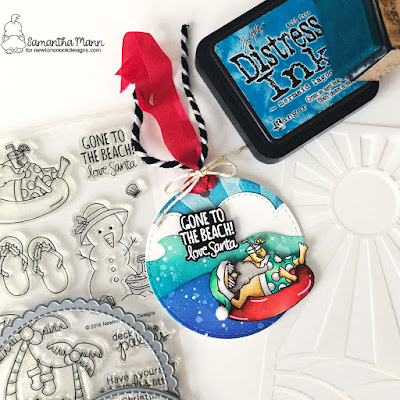 Gone to the Beach Tag by Samantha Mann for Newton's Nook, 25 Days of Christmas Tags, Distress Inks, Ink Blending, Die Cuts, Christmas, Tags, #newtonsnook #25daysofchristmastags #distressink #diecuts