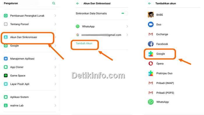 menu tambah akun Email di Realme C2