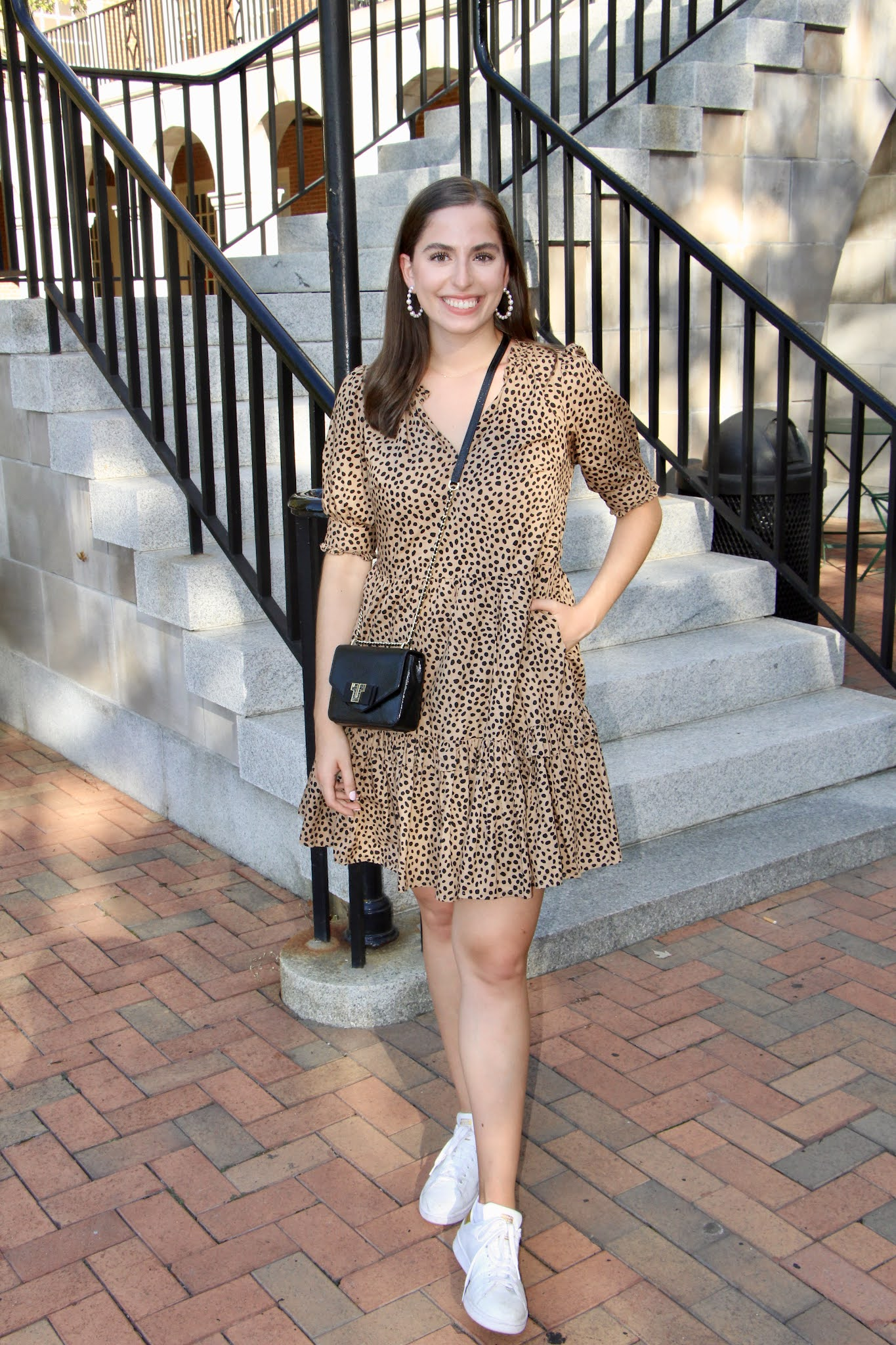how to style white sneakers and a dress, pearl hoops