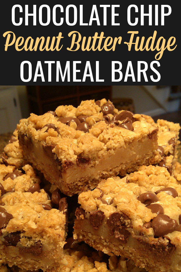 Also known as Oatmeal Dream Bars, this easy recipe features a peanut butter fudge layer between an oatmeal cookie base studded with chocolate chips on top. Top with M&Ms for fun or a special holiday treat!