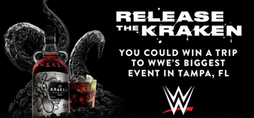 Kraken Rum wants WWE watchers and wrestling fans to enter daily to win a vacation to Florida to see the WWE Biggest Event this coming year in April!