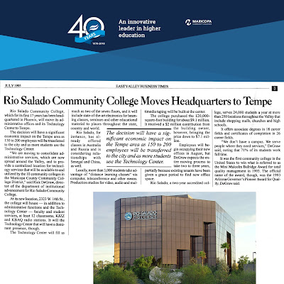 Snapshot of a July 1995 newspaper article by East Valley Business Times.  Headline: Rio Salado Community College Moves Headquarters to Tempe.