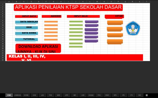 Aplikasi Penilaian KTSP SD dengan Penilaian Sikap Format Microsoft Excel
