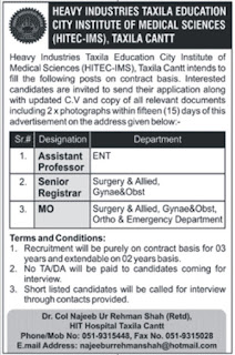 Doctors Jobs in Pakistan Heavy Industries Taxila Cant Jobs 2016 Latest Jobs