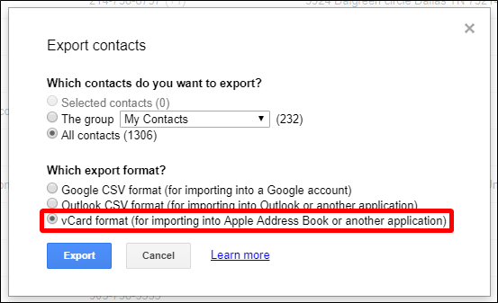esportare vcard contatti icloud