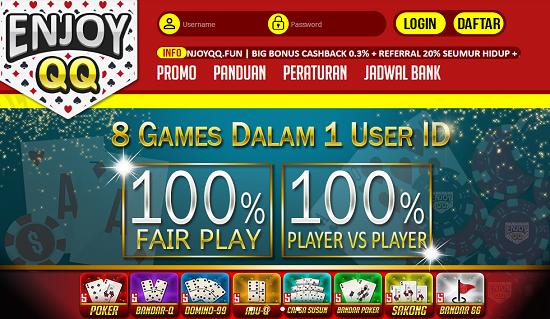 Enjoydomino.com Agen BandarQ, Domino99, DominoQQ, Poker Online, BandarQ Online Terpercaya