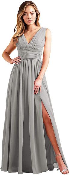Good Quality Gray Chiffon Bridesmaid Dresses
