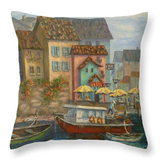 Tuscan Home Decor Throw Pillow with Boats and Village Colorful