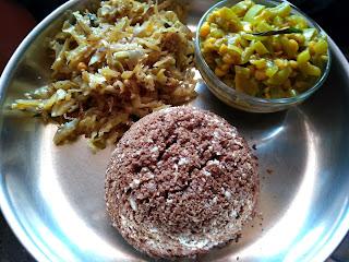 Finger millet sweet puttu, Snake gourd koottu, Cabbage poriyal