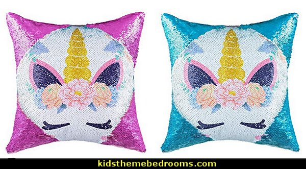 Unicorn Sequins Throw Pillow Case Christmas Festival Decorative Mermaid Magic Reversible Throw Pillow Covers