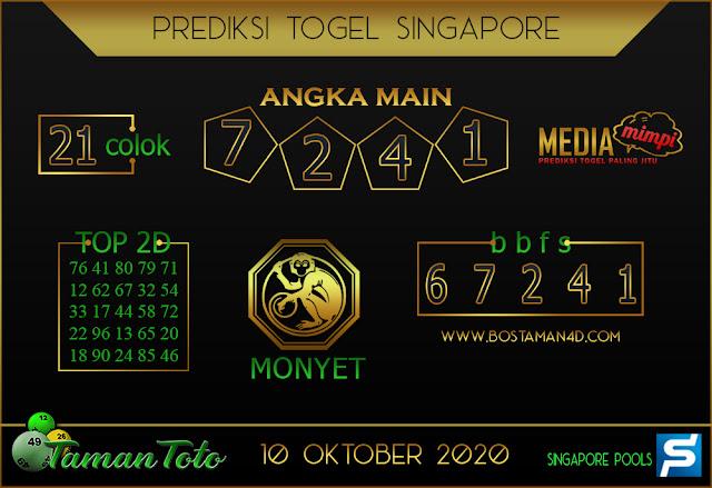 Prediksi Togel SINGAPORE TAMAN TOTO 10 OKTOBER 2020