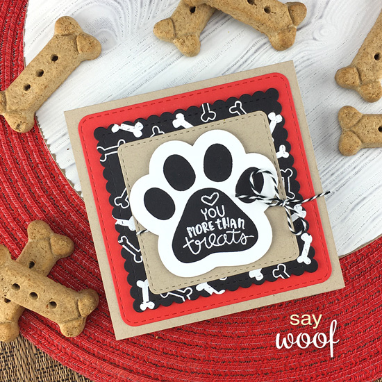 Square Dog Card by Jennifer Jackson | Say Woof Stamp Set, Pawprint Shaker Die Set, and Frarmes Squared Die Set by Newton's Nook Designs #newtonsnook #handmade