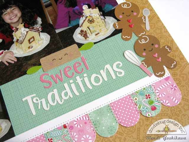 Doodlebug Design Milk & Cookies Sweet Traditions Gingerbread Scrapbook Layout by Mendi Yoshikawa