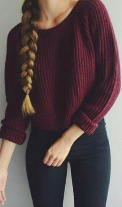 Maroon Sweater Top And Black Paints